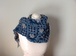 Teal and Gray Boho Scarf  Flowers and Geo Design Fringed See Measurements Below image 3