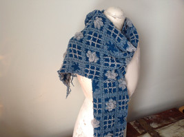 Teal and Gray Boho Scarf  Flowers and Geo Design Fringed See Measurements Below image 2