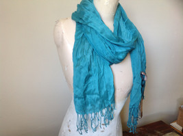 Teal Scrunched Style Silk Mix Scarf by Look Tag Attached Soft Material image 3