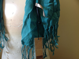 Teal Scrunched Style Silk Mix Scarf by Look Tag Attached Soft Material image 6
