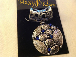 The Magic Scarf Company Silver Tone with Blue Crystals Scarf Pendant 2 Inches image 2