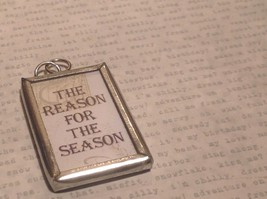 The Reason for the Season Charm Present Tie On  Reversible Tag Metal Glass Tag image 2