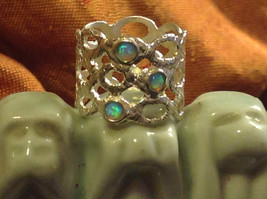 Three Opal Sterling Silver Textured Lacy Shiny Cuff Ring Size Choice 7 or 8 image 2