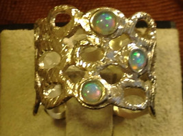 Three Opal Sterling Silver Textured Lacy Shiny Cuff Ring Size Choice 7 or 8 image 3