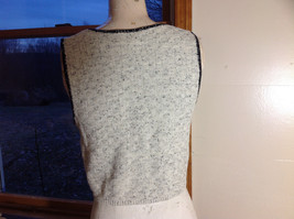 This'll Make Him Nuts!  Knit Sweater Vest Tan with  Black Trim V-Neck Size S/M image 7