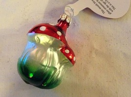 Tiny double mushroom silver red Glass Holiday Tree Ornament Old German Christmas image 3