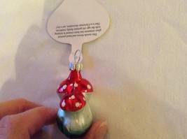 Tiny double mushroom silver red Glass Holiday Tree Ornament Old German Christmas image 5