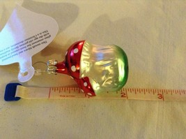 Tiny double mushroom silver red Glass Holiday Tree Ornament Old German Christmas image 9