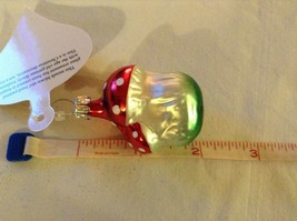 Tiny double mushroom silver red Glass Holiday Tree Ornament Old German Christmas image 10