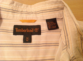 Timberland Striped Light Brown Beige Casual 100% cotton Shirt, Size M image 7
