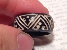 Triangle Pattern Black Wooden Hand Carved Ring Size 6.5 image 3