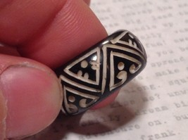 Triangle Pattern Black Wooden Hand Carved Ring Size 6.5 image 2