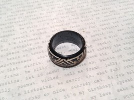 Triangle Pattern Black Wooden Hand Carved Ring Size 6.5 image 5
