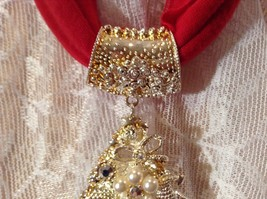 Tree Decorated Bells Stars Gold Tone Silver Crystals White Beads Scarf Pendant image 7
