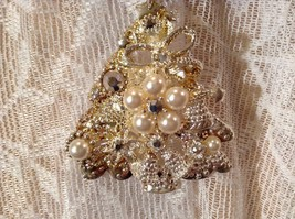 Tree Decorated Bells Stars Gold Tone Silver Crystals White Beads Scarf Pendant image 6