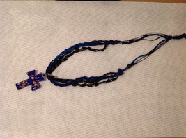 Unique Cobalt Blue and Gold Glass Cross Necklace on Fabric strings image 3