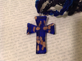 Unique Cobalt Blue and Gold Glass Cross Necklace on Fabric strings image 5