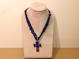 Unique Cobalt Blue and Gold Glass Cross Necklace on Fabric strings image 2