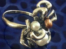 Unique Eclectic Sterling Silver White Mocha Three Pearl Ring Size Choice 7 or 8 image 2