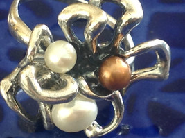 Unique Eclectic Sterling Silver White Mocha Three Pearl Ring Size Choice 7 or 8 image 4