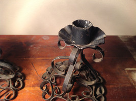 Two Piece Set Antique Candlestick Holders Black Metal 5 Inches Tall image 4