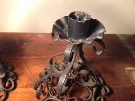 Two Piece Set Antique Candlestick Holders Black Metal 5 Inches Tall image 3
