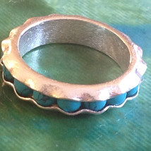 Turquoise Bead Wavy Inset Sterling Silver Satin Finish Ring Size Choice 7 or 8 image 3
