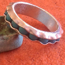 Turquoise Bead Wavy Inset Sterling Silver Satin Finish Ring Size Choice 7 or 8 image 2