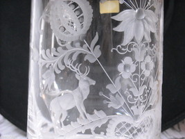 Tyrolean glass stein with metal lid Bavaria Ludwigsthal with deer and flowers image 2