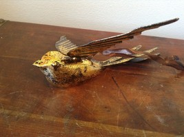 Vagabond Vintage Gold Tone Bird in Flight Ornament Brown Ribbon for Hanging image 5