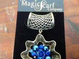 Very Light Gold Tone Finish Blue Crystals Flower Scarf Pendant by Magic Scarf image 3