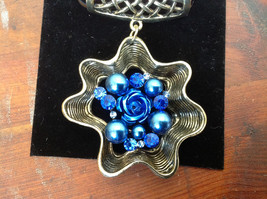 Very Light Gold Tone Finish Blue Crystals Flower Scarf Pendant by Magic Scarf image 2