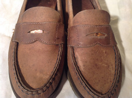 Vibram Size 8 and a Half Brown Hand Sewn in USA Penny Loafers  Half Inch Heel image 8
