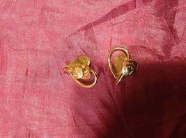 Vintage 12K GF Gold Green Jade with leaf leaves Earrings Screw back image 5