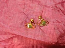 Vintage 12K GF Gold Green Jade with leaf leaves Earrings Screw back image 6
