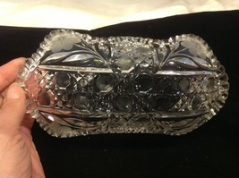 Vintage American Brilliant cut glass candy side dish from estate image 4