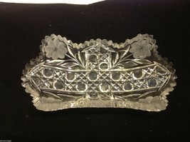 Vintage American Brilliant cut glass candy side dish from estate image 8