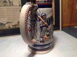 Vintage Ceramic Handmade Beer Stein with Pewter Lid Baseball Theme image 5