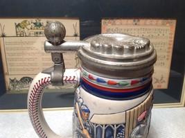 Vintage Ceramic Handmade Beer Stein with Pewter Lid Baseball Theme image 7