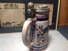 Vintage Ceramic Handmade Beer Stein with Pewter Lid Baseball Theme image 6