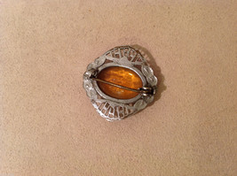 """Vintage Costume Silver Brooch Pin with amber orange color, 1"""" by 1"""" image 2"""