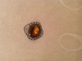 """Vintage Costume Silver Brooch Pin with amber orange color, 1"""" by 1"""" image 3"""