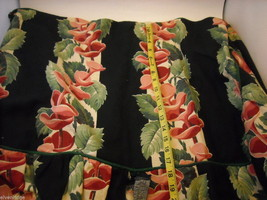 Vintage Fabric Dressing Table Cover with black white red pink green and piping image 3