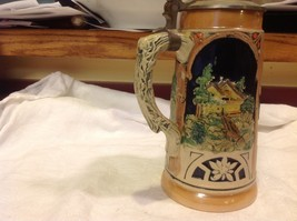 Vintage German lidded ceramic stein from estate mid 1900s #4 image 8