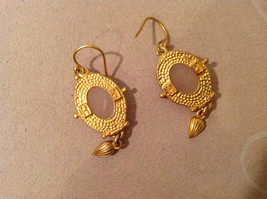 """Vintage Gold tone earrings with light pink - rose stone, 1-1/2"""" long image 4"""