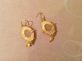 """Vintage Gold tone earrings with light pink - rose stone, 1-1/2"""" long image 3"""