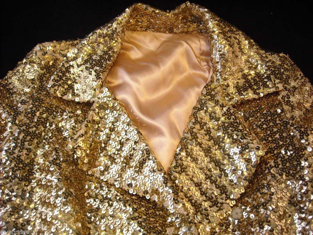 Vintage Gold Sequined Coat Women's Size 12