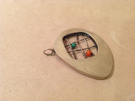 Vintage Handcrafted Silver Charm Pendant, green orange beads on criss cross wire image 2