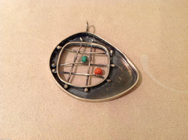 Vintage Handcrafted Silver Charm Pendant, green orange beads on criss cross wire image 3