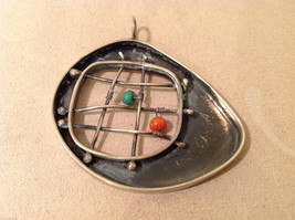 Vintage Handcrafted Silver Charm Pendant, green orange beads on criss cross wire image 4